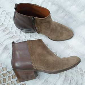Madewell Brown Half Suede Leather Zip Up Ankle Boo